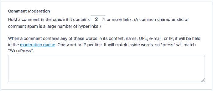 Comment Moderation section with options to hold comments for approval if they contain a certain number of links or specific text as described in the list above.
