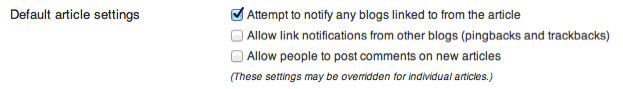 Default article settings section, with options as described above for discussion settings on the site.