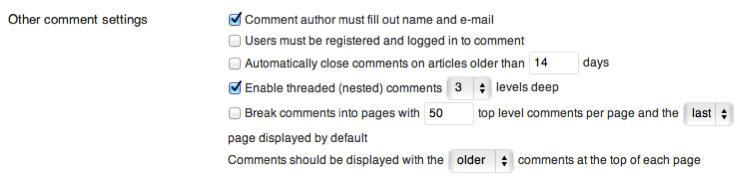Screenshot of the Other Comment Settings section as described in the list above.