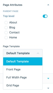Dropdown With Page Templates