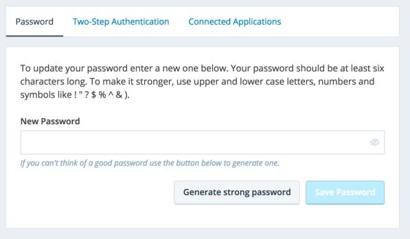 Passwords Support Wordpress