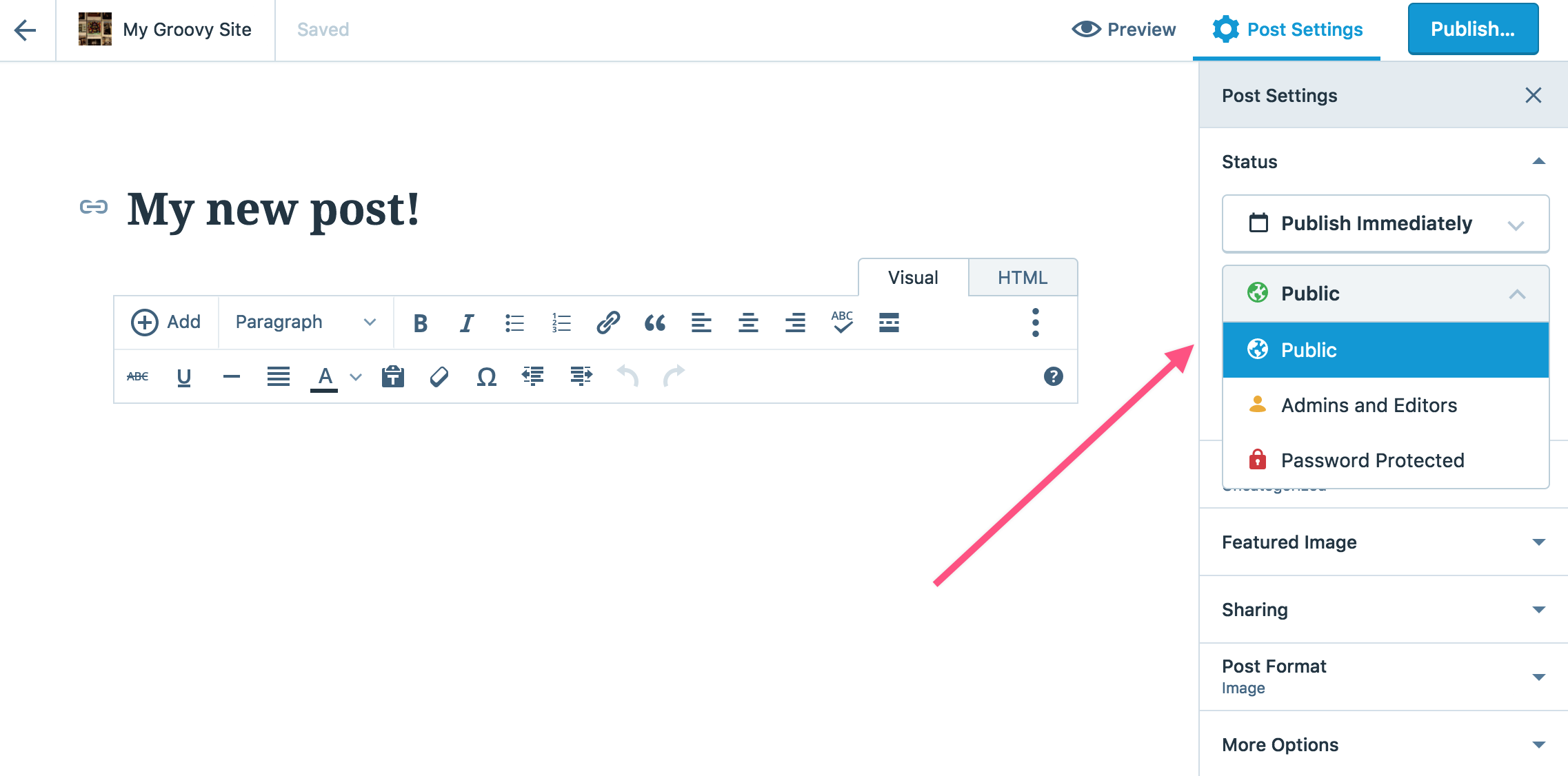 post visibility support wordpresscom