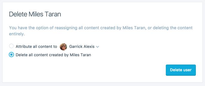 ユーザー削除ダイアログ、すべてのコンテンツを削除オプションが選択されている