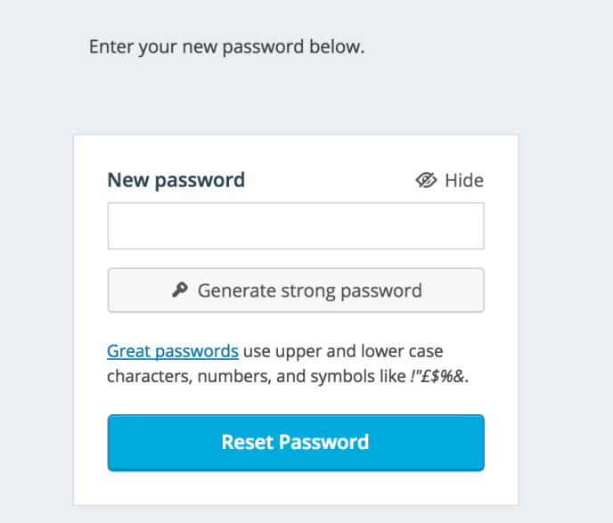 reset password form