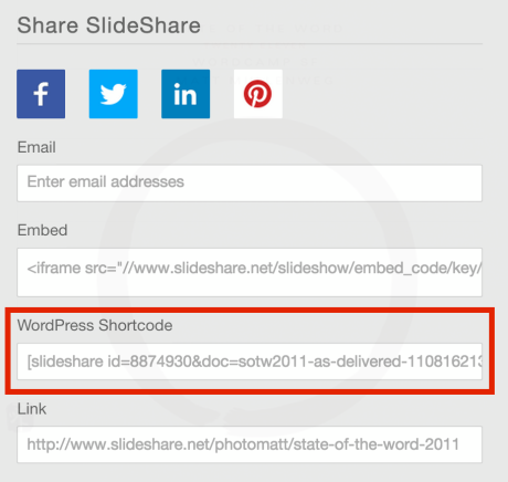 Slideshare WordPress shortcode
