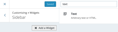 text widget - searching