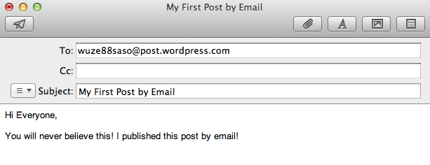 An example of an email client showing the post by email secret email address, an email subject, and some content in the email.