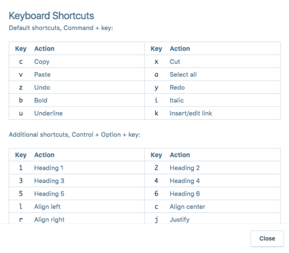 Image of keyboard shortcuts