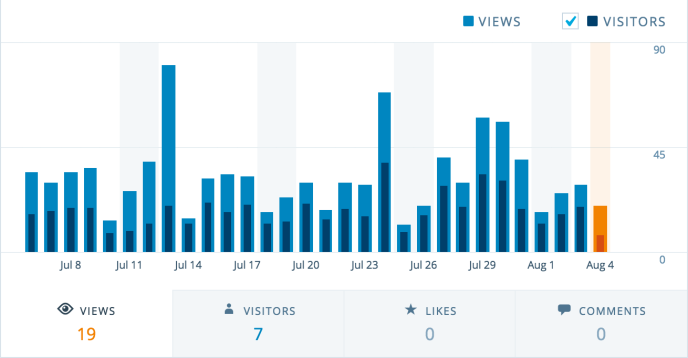 This screenshot shows a bar graph of stats for daily views.