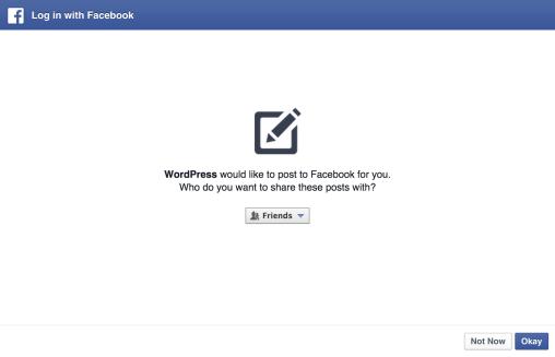 Erlaubnis für Facebook, Inhalte zu veröffentlichen