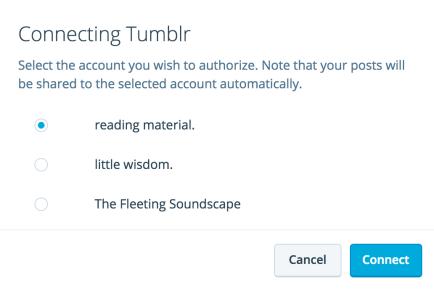 Sélectionner le compte Tumblr auquel vous connecter