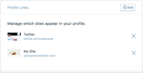 The Profile Links section has an Add button to add any, and an X beside each link to remove them.