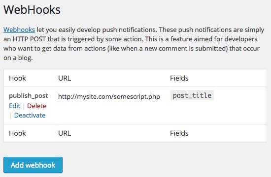 Webhooks Support Wordpress