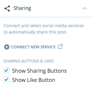 post sharing button options