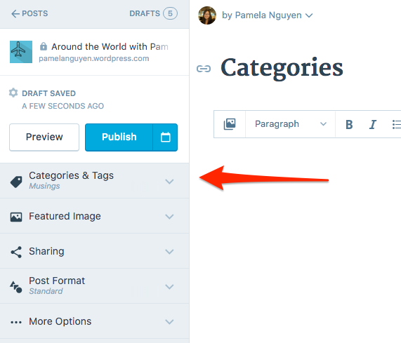 categories in sidebar