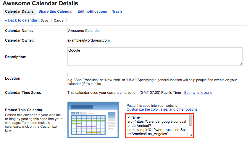 Google Calendar — Support — WordPress.com