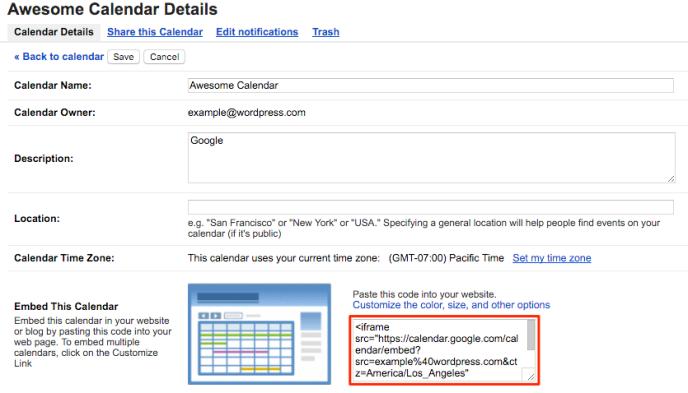 google calendar support wordpress com