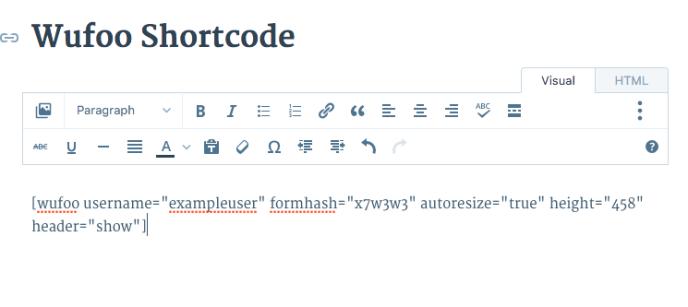image of wufoo shortcode in visual editor