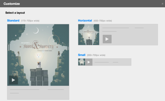Bandcamp Customize Layout Window