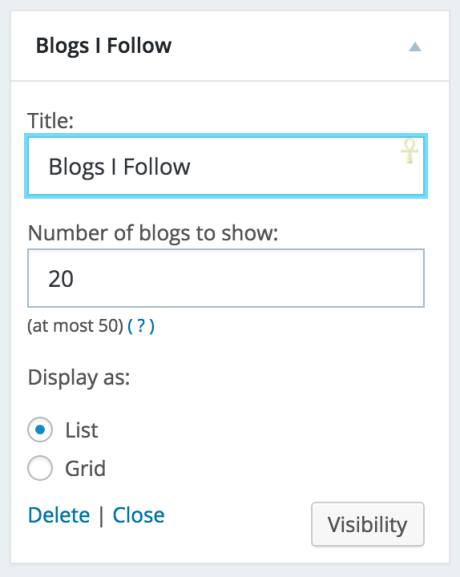 blogs i follow widget settings