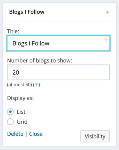 blog che seguo impostazioni dei widget
