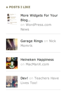 The Posts I Like widget shows thumbnail image and the title and author for each post, in a list.