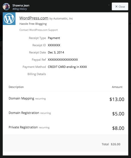 billing history support wordpress com