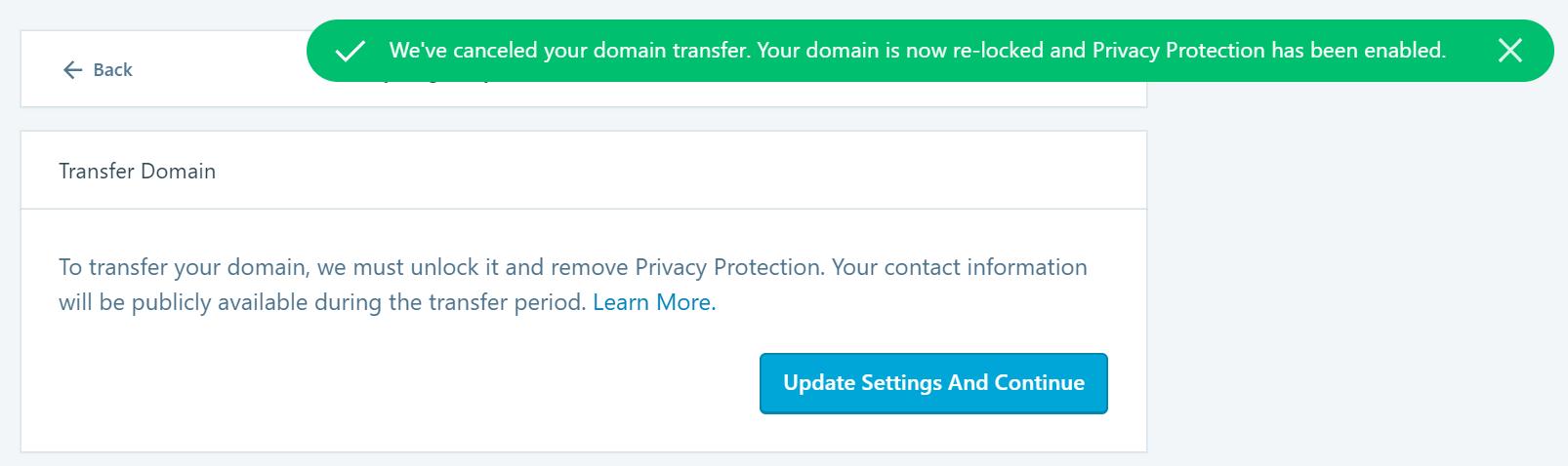 Imagem da mensagem confirmando que a transferência de domínio foi cancelada