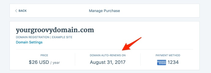 Domain auto renew on
