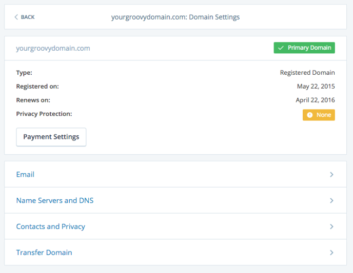 Image of the domain's options page