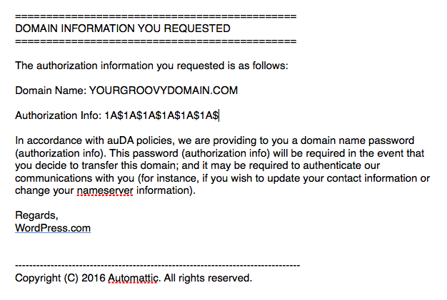 Image of the domain transfer email