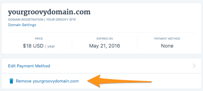 image of the remove domain button