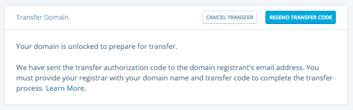 Image of resend transfer code button