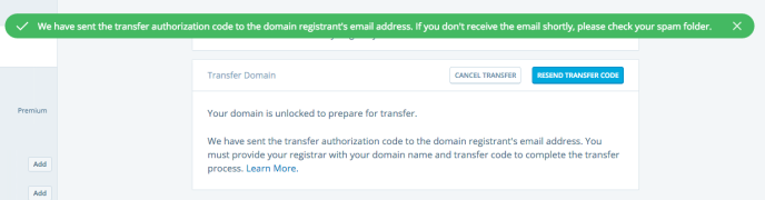 Image of confirmation of transfer code being sent to email