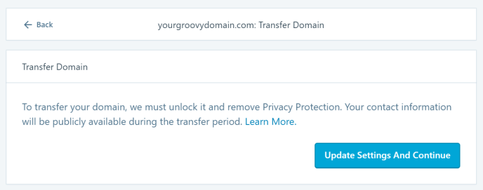 Image of the option to unlock domain for transfer
