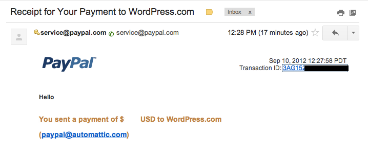 Paypal Transaction Id In Email Support WordPress Com