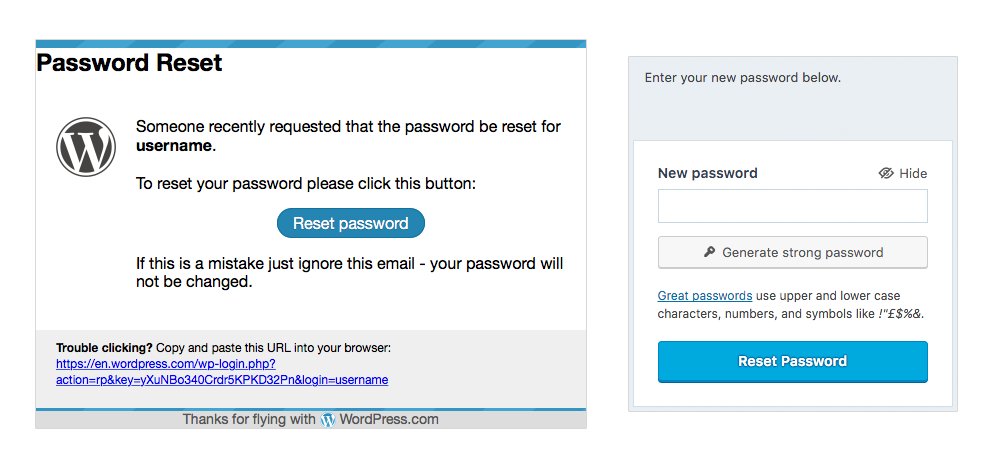 account recovery \u2014 support \u2014 wordpress compassword reset email