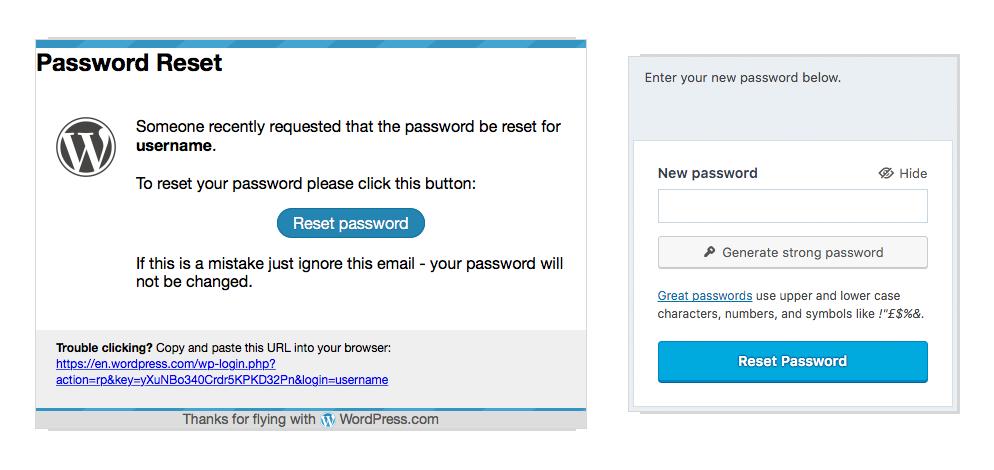 account recovery \u2014 support \u2014 wordpress compassword reset email