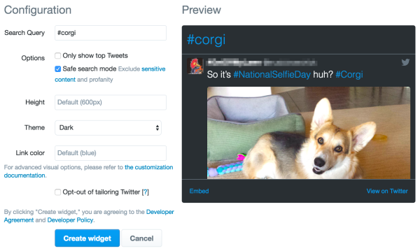 twitter new search widget
