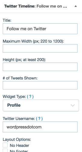 twitter timeline widget settings