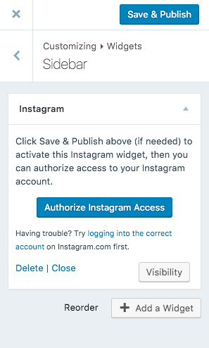 authorize instagram widget