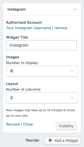 image of Instagram Widget's settings