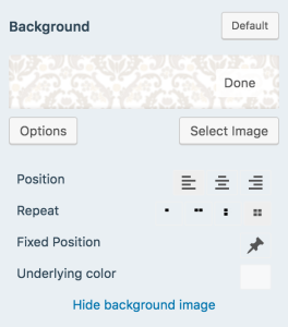 Set your background with these options