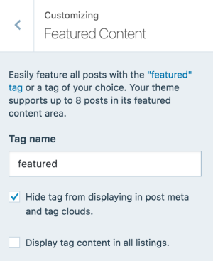 Step 3: Activate your slider from the Customizer → Featured Content