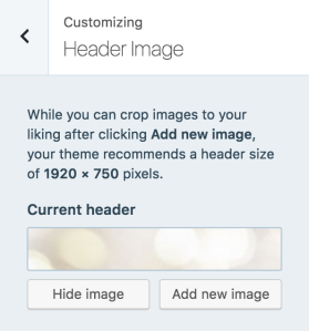 "Click ""Add new image"" to upload your custom header"