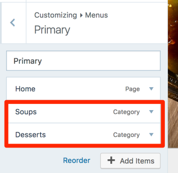 Once added, the menu will look like this (note how Home is a Page item, while Soups and Desserts are Category items):
