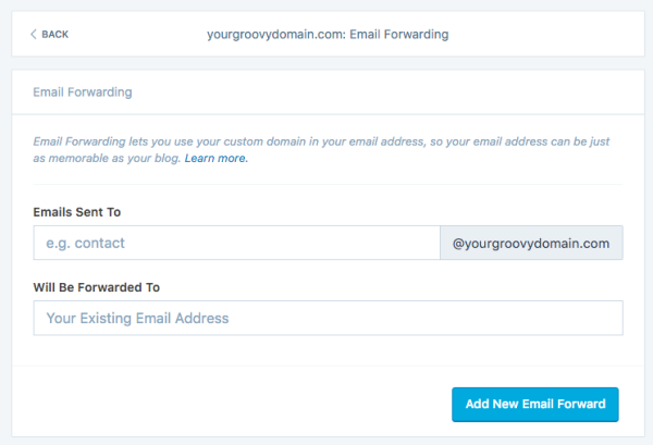 image of email forwarding setup page