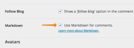 Enabling Markdown for comments