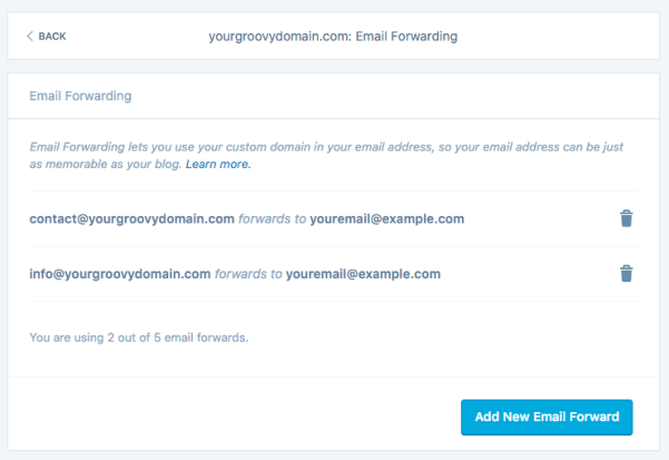 image of email forwarding settings