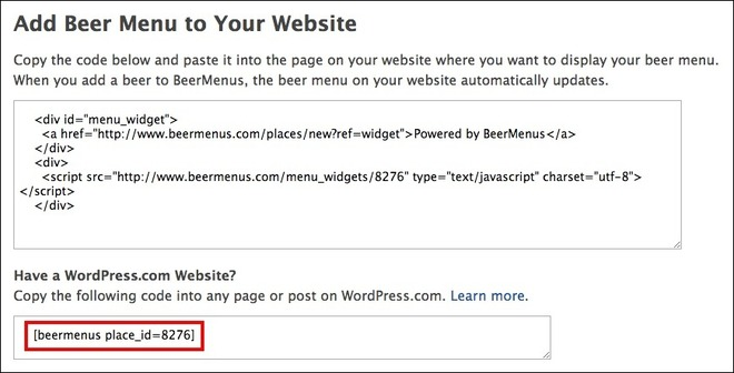 "Image: depicting the option ""Add Beer Menu to Your Website"", highlighting the second section referring to WordPress.com"